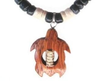 Hawaiian Jewelry Handmade Hawaiian Turtle Black Coconut Shell Koa Wood Pendant From Maui Hawaii