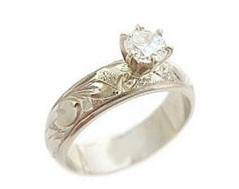 Hawaiian Heirloom Jewelry 14k White Gold Cubic Zirconia 1/2 CT Custom Hand Carved Ring from Maui, Hawaii