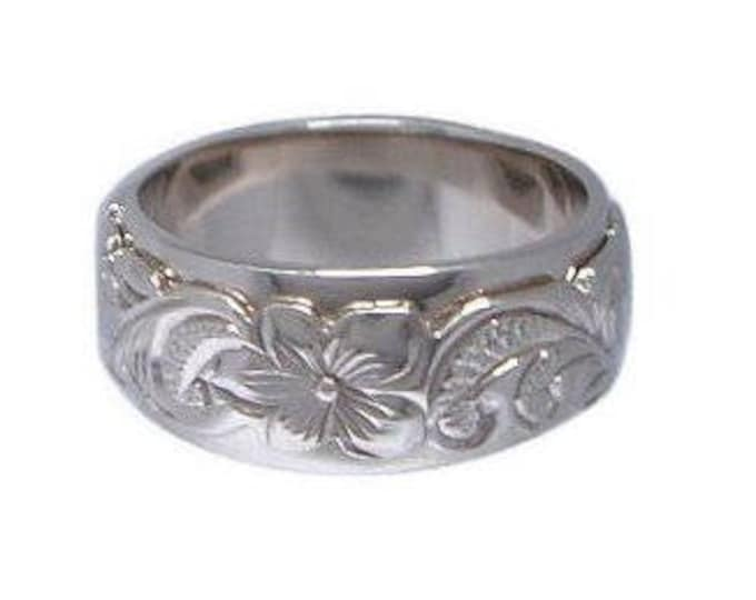 Hawaiian Heirloom Jewelry Sterling Silver Hand Engraved Flower Double Band 8mm Ring from Maui, Hawaii