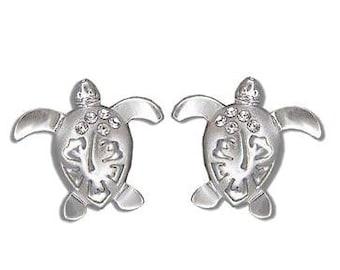 Hawaiian Jewelry Sterling Silver Platinum Gold Finish Honu Turtle Flower CZ Earrings from Maui, Hawaii