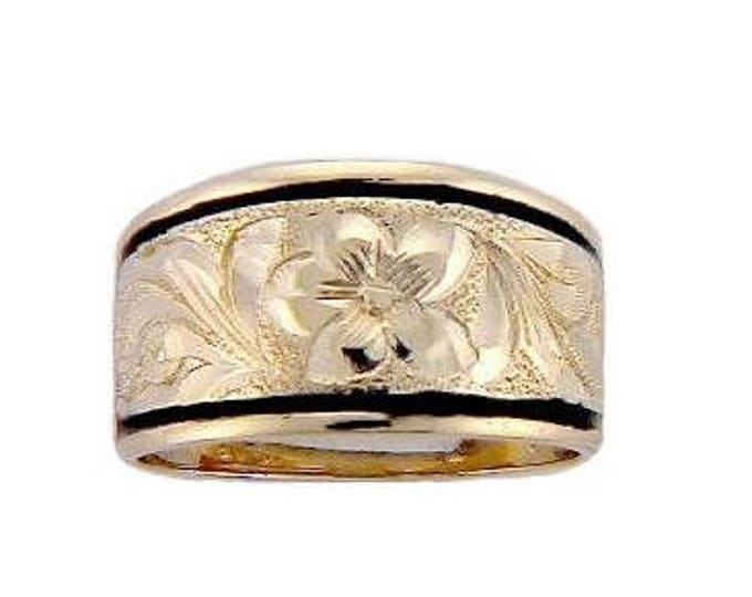 Hawaiian Heirloom Jewelry 14 Karat Gold 12mm Tapered Black Enamel Border Ring from Maui, Hawaii