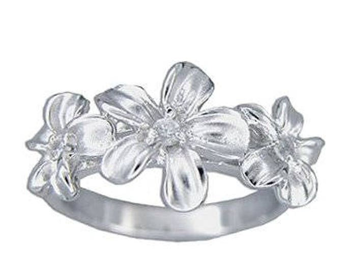 Hawaiian Heirloom Jewelry 3 Plumeria Flower CZ Ring Sterling Silver Jewelry from Maui, Hawaii