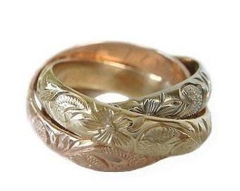 Hawaiian Heirloom Jewelry Solid 14K Gold 4mm Custom Triple Tricolor Custom Ring from Maui, Hawaii