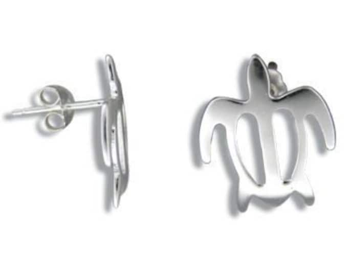 Honu Sea Turtle Sterling Silver Hawaiian Jewelry Pierce Earrings from Maui, Hawaii
