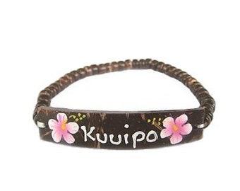 Hawaiian Jewelry Handmade Pink Flower KUUIPO Elastic Coconut Bead Bracelet from Maui, Hawaii