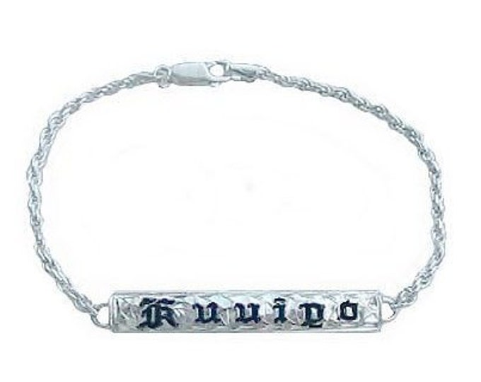 Hawaiian Heirloom Jewelry Sterling Silver Custom ID Bracelet with YOUR NAME from Maui, Hawaii