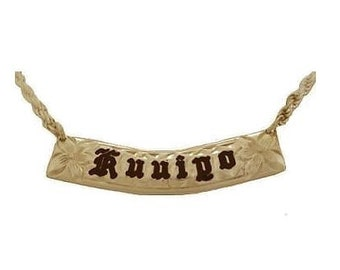 Hawaiian Heirloom Jewelry Custom 14k Gold 8mm Horizontal Pendant with YOUR Name from Maui, Hawaii