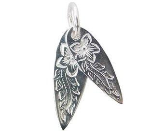 Hawaiian Jewelry Double Surfboard Sterling Silver Plumeria Flower Pendant from Maui, Hawaii