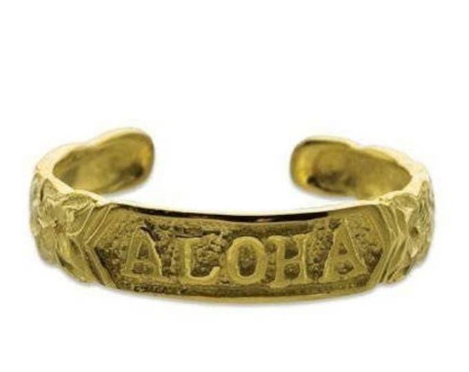 Hawaiian Heirloom Jewelry 14k Gold Finish Sterling Silver ALOHA Toe Ring from Maui, Hawaii