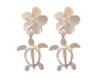 Hawaiian Jewelry Sterling Silver CZ Plumeria Flower Honu Sea Turtle Earrings from Maui, Hawaii