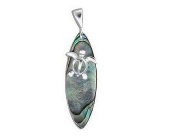 Hawaiian Jewelry Honu Sea Turtle Surfboard Paua Shell Sterling Silver Pendant from Maui, Hawaii
