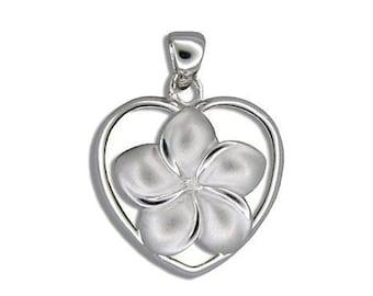 Hawaiian Heirloom Jewelry Large Sterling Silver Plumeria Flower Heart Pendant from Maui, Hawaii