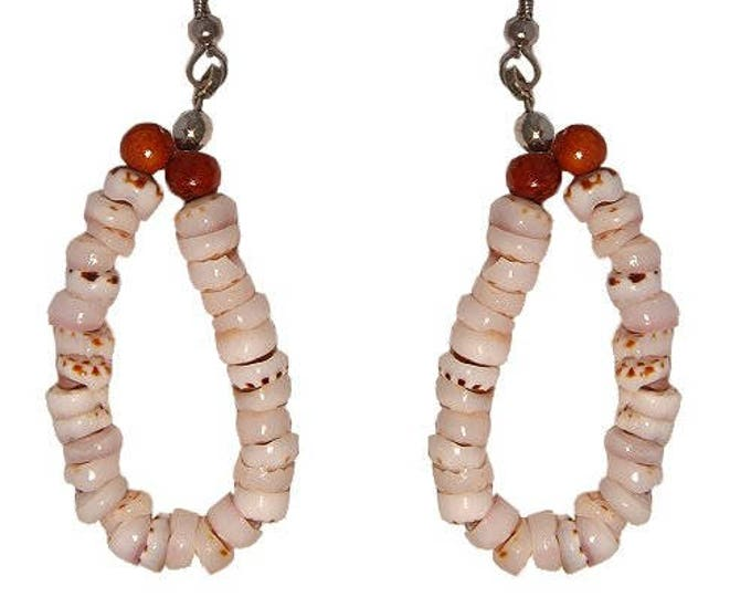 Hawaiian Jewelry Handmade Tiger Puka Shell Hoop Earrings With Koa Wood Beads From Maui Hawaii