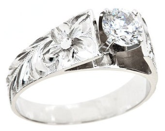 Hawaiian Heirloom Jewelry 8mm 14k White Gold Cubic Zirconia 1 CT French Mount Ring from Maui, Hawaii
