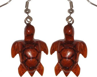 Hawaiian Jewelry Handmade Hand Carved Hawaiian Honu Sea Turtle Koa Wood Hawaii Earrings From Maui Hawaii