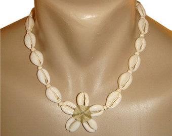 Hawaiian Jewelry Handmade ALL WHITE Cowry Shell Plumeria Flower Necklace from Maui, Hawaii