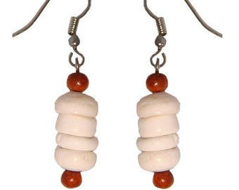 Hawaiian Jewelry Handmade Puka Shell Dangling Earrings With Koa Wood Beads From Maui Hawaii