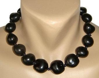 Hawaiian Jewelry 18 Inch Black Kukui Nut Choker Necklace From Maui Hawaii