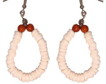 Hawaiian Jewelry Handmade Puka Shell Hoop Earrings With Koa Wood Beads From Maui Hawaii