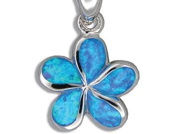 Sterling Silver Synthetic Blue Opal Plumeria Flower Hawaiian Jewelry Pendant from Maui, Hawaii