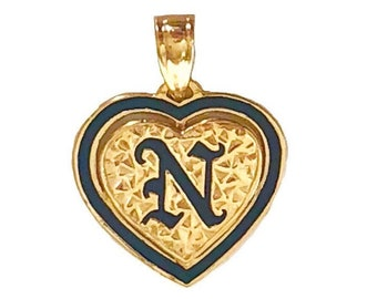 Hawaiian Heirloom Jewelry 14K Gold Initial Heart Pendant with Black Enamel