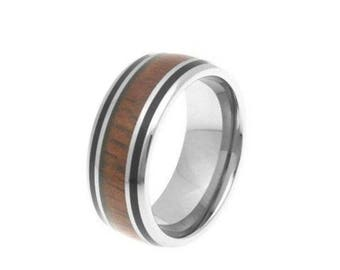 Hawaiian Heirloom Jewelry 8mm Stainless Steel Koa Wood Band Comfort Fit Black Border Ring from Maui, Hawaii