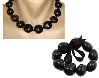 """Hawaiian Jewelry 18"""" Black Kukui Nut Choker Necklace and Bracelet Set From Maui Hawaii"""