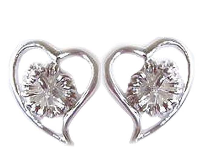 Hawaiian Jewelry Sterling Silver Hibiscus Flower Pierce Heart Earrings from Maui, Hawaii