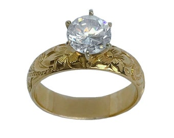 Hawaiian Heirloom Jewelry 5mm 14k Yellow Gold Cubic Zirconia Wedding Engagement Ring