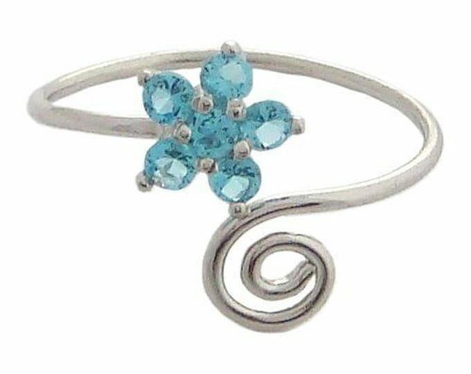 Hawaiian Jewelry Sterling Silver Blue CZ Plumeria Flower Hawaii Toe Ring from Maui, Hawaii