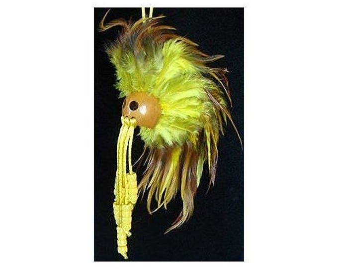 Hawaiian Yellow and Brown Handmade Ikaika Warrior Helmet From from Maui, Hawaii