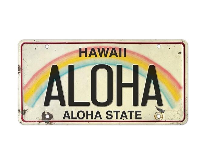 6in x 12in Vintage Hawaiian Embossed License Plate - Aloha