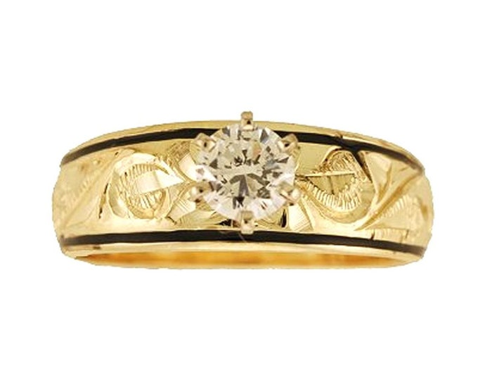 Hawaiian Heirloom Jewelry 14k Yellow Gold Cubic Zirconia Tapered Wedding Engagement Ring