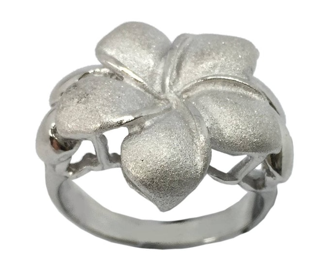 Hawaiian Heirloom Jewelry XL Single Plumeria Flower Ring Sterling Silver Jewelry from Maui, Hawaii
