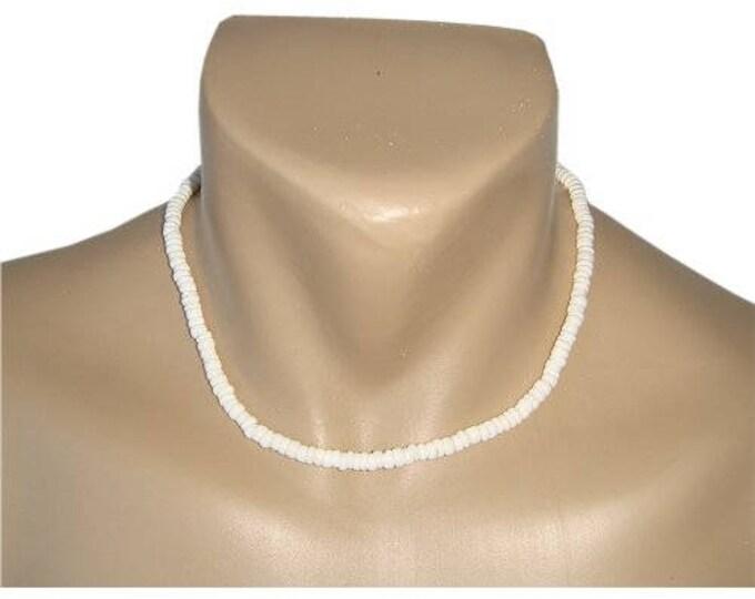Hawaiian Jewelry Handmade Small Puka Shells Choker Necklace with Koa Wood Bead Accents from Maui, Hawaii