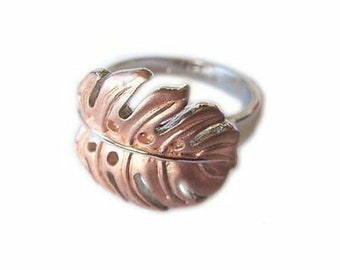 Hawaiian Heirloom Jewelry Sterling Silver with Rose Gold Finish Monstera Ring from Maui, Hawaii