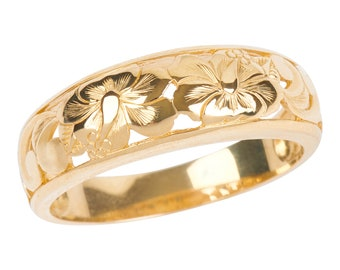 Hawaiian Heirloom Jewelry 14k Yellow Gold 6mm Cut Out Hibiscus Dome Taper Ring from Maui, Hawaii