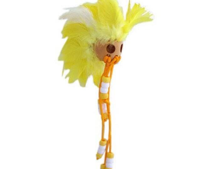 Hawaiian Yellow and White Handmade Ikaika Warrior Helmet From from Maui, Hawaii