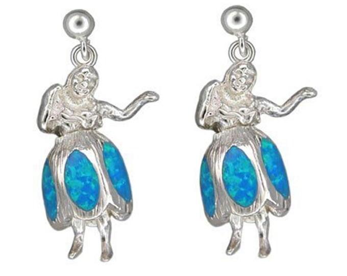 Sterling Silver Synthetic Blue Opal Honu Dancing Hula Girl Hawaiian Jewelry Earrings from Maui, Hawaii