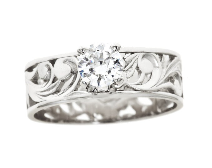 Hawaiian Heirloom Jewelry 14k White Gold Cubic Zirconia 0.5CT Cut out Flat Ring from Maui, Hawaii