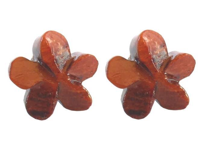 Hawaiian Jewelry Handmade Hand Carved Hawaiian Plumeria Flower Koa Wood Hawaii Stud Earrings From Maui Hawaii