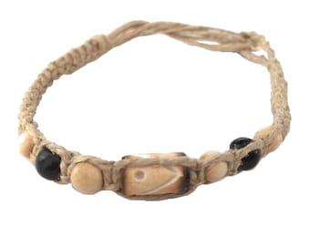 Hawaiian Handmade Hemp Coconut Bead Anklet / Bracelet from Maui, Hawaii