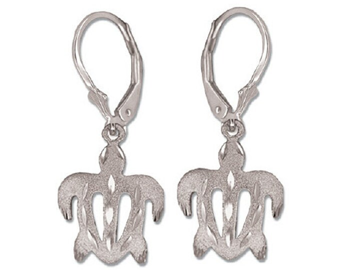 Hawaiian Heirloom Jewelry 14 Karat White Gold Honu Sea Turtle Dangle Earrings from Maui, Hawaii