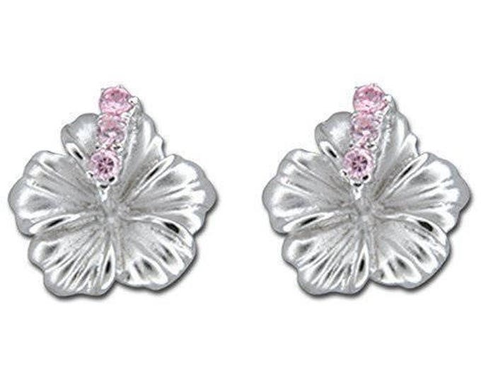 Hawaiian Jewelry Hibiscus Flower Sterling Silver Pink CZ Earrings from Maui, Hawaii