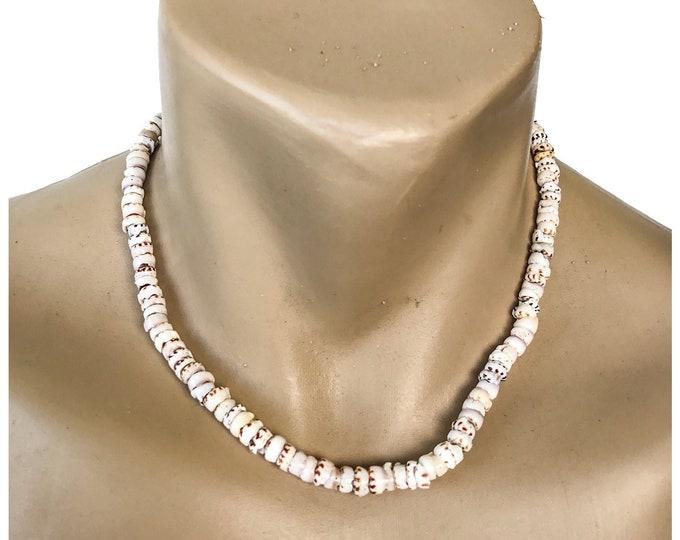 Hawaiian Jewelry Handmade 18 Inch Tiger Puka Shell Choker Necklace from Maui, Hawaii