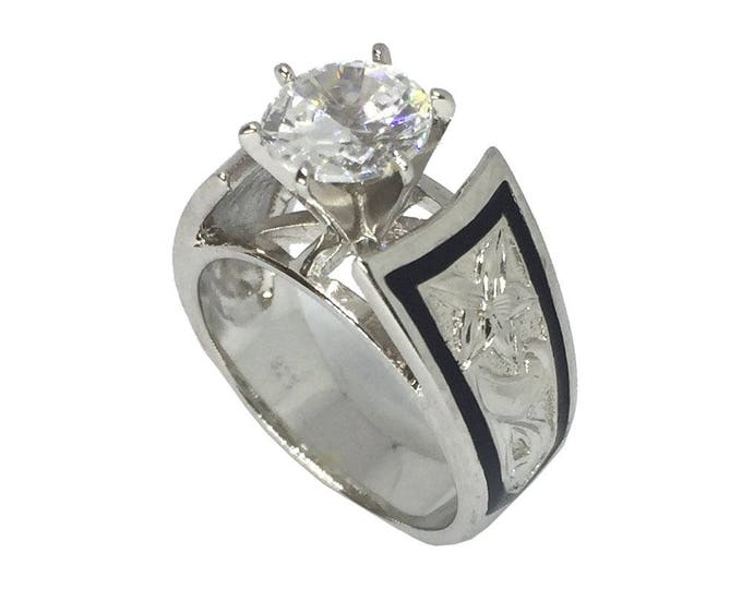 Hawaiian Heirloom Jewelry 1.5 ct Cubic Zirconia Plumeria Flower Sterling Silver Ring from Maui, Hawaii