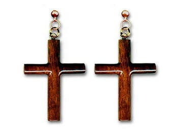 Hawaiian Jewelry Handmade Hand Carved Christian Cross Koa Wood Dangling Pierce Earrings From Maui Hawaii