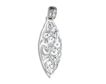 Hawaiian Jewelry Sterling Silver Hawaiian Plumeria Flower CZ Surfboard Pendant from Maui, Hawaii