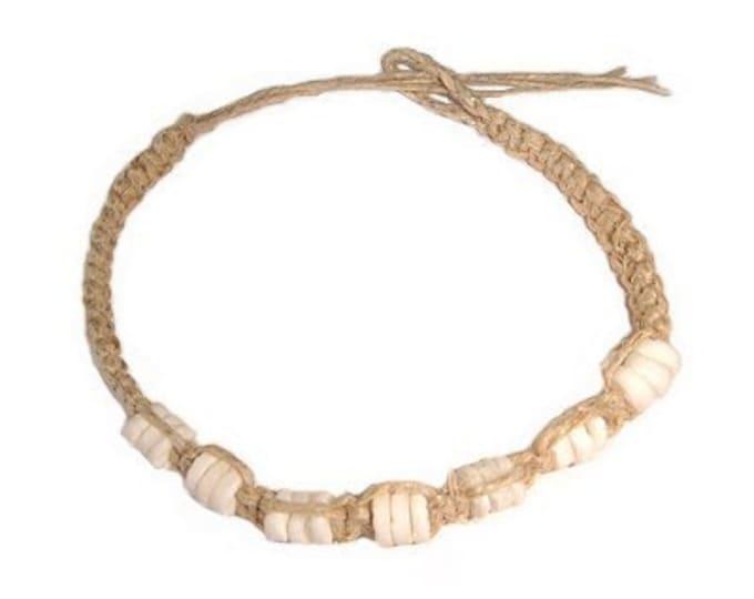 Hawaiian Handmade Hemp Puka Shell Bracelet / Anklet from Maui, Hawaii