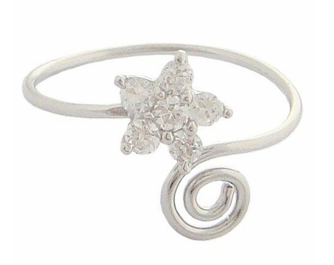 Hawaiian Jewelry Sterling Silver Clear CZ Plumeria Flower Hawaii Toe Ring from Maui, Hawaii